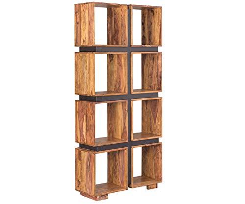 AISER Royal Massives Echt-Holz Palisander Bücher-Regal -Tacoma- aus besonders schön gezeichnetem Sheesham-Holz mit 8 Fächern und Lederoptik-Applikation in modernem zeitlosen Design | Höhe 181 cm
