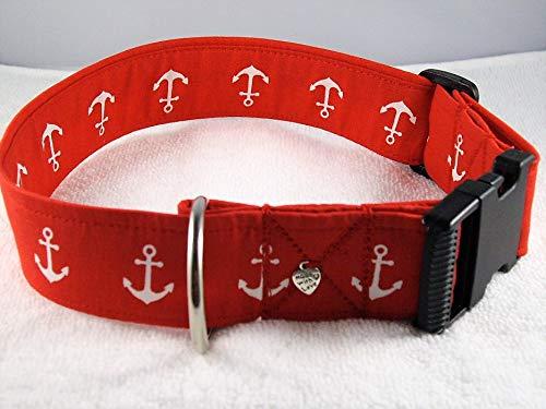 """Halsband""""Anker,rot"""" 4 cm breit bis 55 cm Halsumfang"""