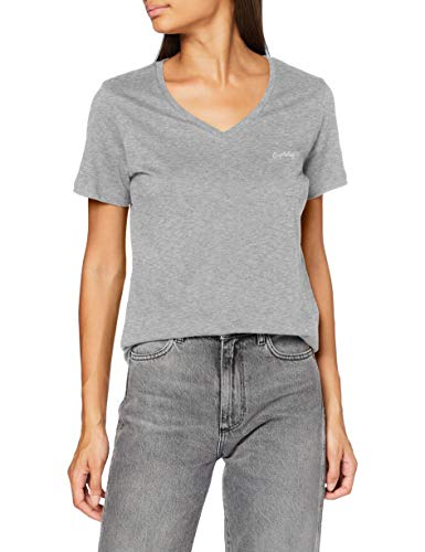 Superdry Scripted V Neck Tee T-Shirt, Gris chiné, M (Taille Fabricant:12) Femme
