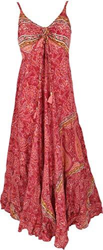 GURU SHOP Seidiges Maxikleid, Sommerkleid, Damen, Rot, Synthetisch, Size:38, Lange & Midi-Kleider Alternative Bekleidung