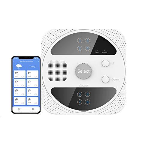 ASOJOY Smart Wi-Fi Waterproof Sprinkler Controller, 8 Zone Outdoor Wireless Irrigation Controller, Weather Intelligence, Compatible with Alexa