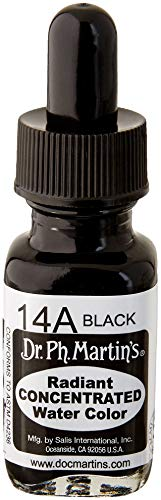 Dr. Ph. Martin's Radiant Concentrated Water Color, 0.5 oz, Black (14A)