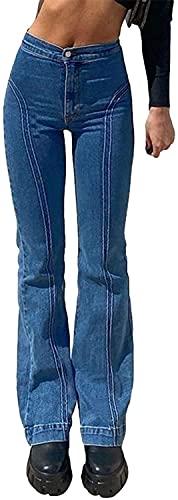 Siyova Pantaloni Donna Vintage a Vita Alta Jeans Blu Eleganti Pantaloni Dritti in Denim Elasticizzati Jeans Slim Fit Ragazza Casual (Blu, S)