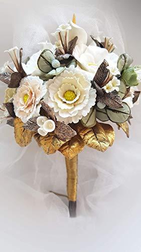 RAMO DE NOVIA Flores de Porcelana Fria-Hand Made-Pieza Unica