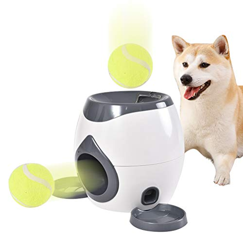 JiuRong Automatische Ballwurfmaschine für Haustiere, Belohnungsautomat mit Ball und Löffel, Interaktives Hundepuzzle-Spielzeug, Hundeautomatische Ballwurf-Abholmaschine und Futterspender