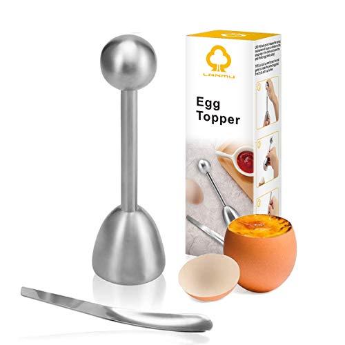 LANMU Eierköpfer Edelstahl Eieröffner Eierschneider Eierteiler mit Löffel Eierlöffel Küchewerkzeug zum Backen/Frühstück/Dessert für Rohe gekochtes Eier