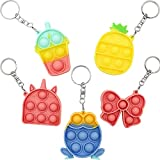 Mini Pop Bubble Fidget Simple Dimple Toy Push Pop Fidget Toy Keychain Autism Needs Stress Reliever Tactile Logic Game for Kids