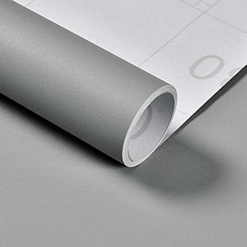 Hode Grau Folie Selbstklebende Möbelfolie Matt Dekorfolie Klebefolie für Möbel Arbeitsplatte Wände Tür Schränke Oberflächenschutz Wasserdicht Hellgrau 40x300cm