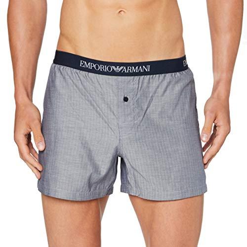 Emporio Armani Underwear Herren Boxer Unterwäsche, Chevron BLU/Bianco-Blue Chevron/White, S