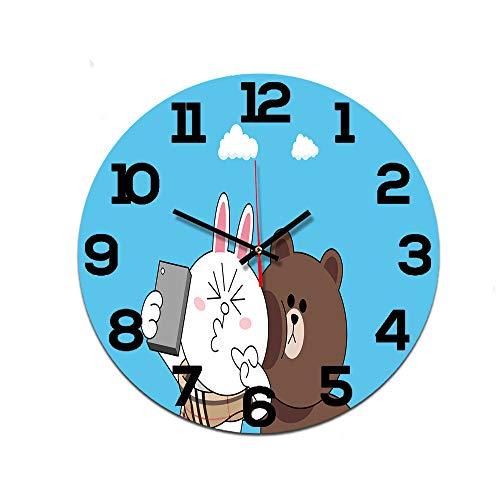 LUOYLYM Cute Bear Wanduhr Acryl Uhr Stummschaltung Startseite Kreative Wanduhr Craft Clock Ctt-146 28cm
