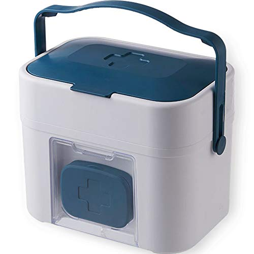 Umora 救急箱 薬箱 応急処置 救急ボックス 薬収納ボックス 携帯用薬ケース付き 大容量 家庭用 ブルー