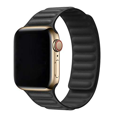 Jinlida kompatibel mit Apple Watch Armband 42mm 44mm, Lederband mit Ersatzband kompatibel für iWatch Serie 6/5/4/3/2/1/SE(Schwarz)