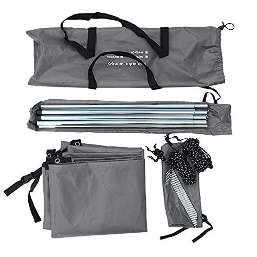 bobotron Toldo portátil para camping, 440 x 200 cm, toldo lateral para coche, protección solar, toldo para caravana, exterior, SUV