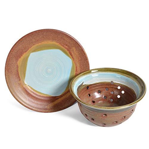 Holman Pottery American Handmade Berry Colander and Plate Set Robins Nest