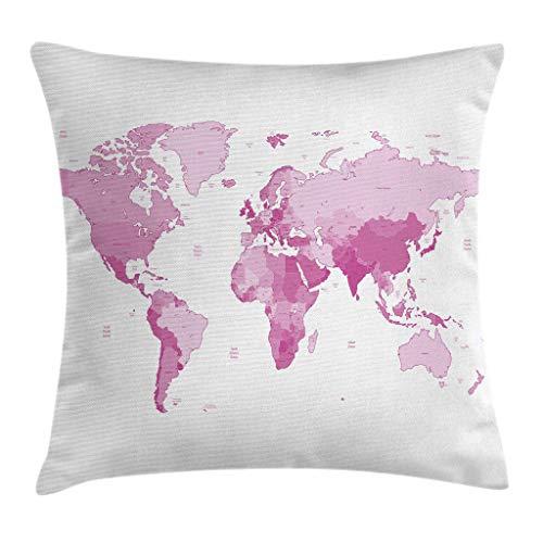 Funda de cojín de color rosa pálido, mapa del mundo, continentes, isla tierra, Pacífico, Atlas Europa, América África, 45,7 x 45,7 cm, rosa blanco