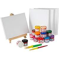 Kit Completo Pintura para niños - 13 Temperas para Niños Lavable Liquidas 40ml + 2 Pinceles + 5 Lienzos 18x24 + Caballete | Artix Pro