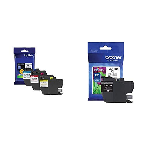 Brother LC3029 Color C/M/Y Ink Cartridges (LC30293PKS), Super High Yield, 3/Pack,Cyan/Magenta/Yellow & Printer High Yield Ink Cartridge Page Up to 400 Pages Black (LC3013BK), Standard