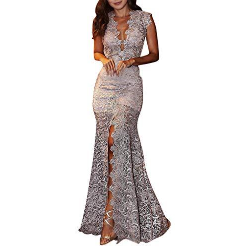 Writtian Elegante Spitzenkleid Partykleid brautkleid Abendkleid v-Ausschnitt ärmelloses schlank Retro Fishtail Lange Maxi Kleider Schlitz Spitzenkleid
