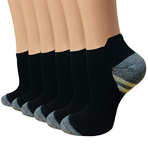 Copper Plantar Fasciitis Running Compression Socks for Men & Women 6 Pairs Arch Support Ankle Socks for Athletic&Travel