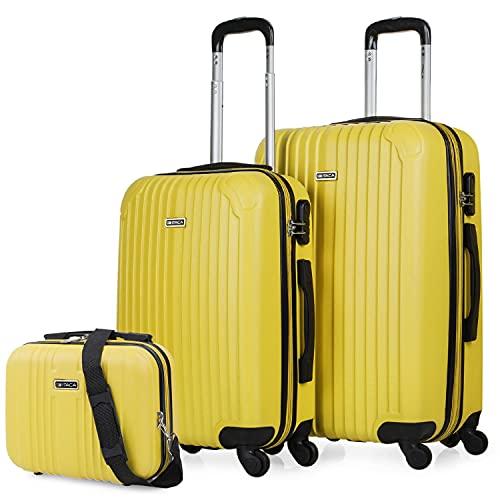 ITACA - Juego Maletas de Viaje 4 Ruedas Y Neceser Viaje Rígido 3 Pzs. Set Trolley ABS 4 Ruedas (Cabina + Mediana + Neceser) Rígidas y Resistentes. T71515B, Color Mostaza