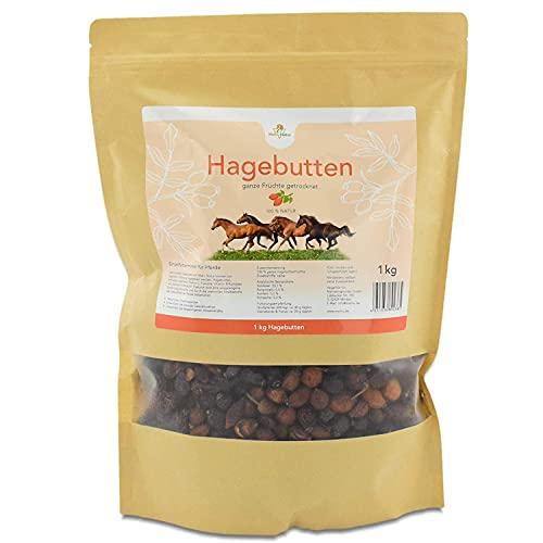 Mahu Natur 1 kg Hagebutten Pferd - Ganze Früchte schonend getrocknet - Für Pferde, Ponys, Nager, Hamster mit viel Vitamin C