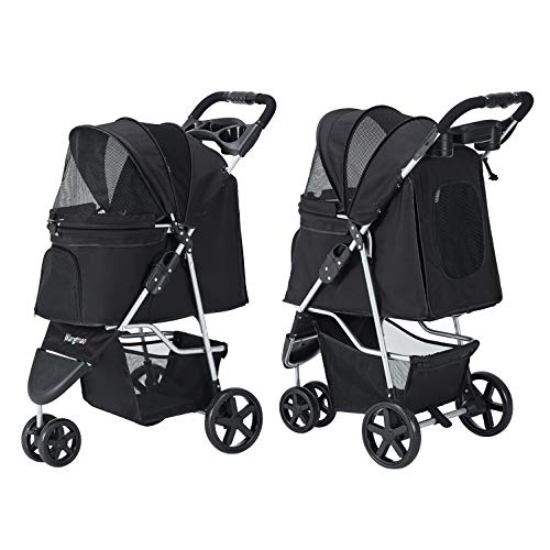 Wangmao Pet Stroller for Cats Dogs, 3 Wheel Dog Foldable No Zipper Puppy Stroller for Small-Medium...