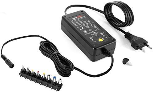 Poppstar Alimentatore Universale Regolabile CA CC (5V 6V 7,5V 9V 12V - 3A e 13,5V 15V - 2,4A) con 8 Connettori a Spina CC e LED