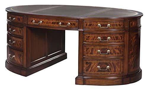 Casa Padrino Luxury Partner Desk Brown/Green 180 x 102 x H. 76 cm - Mahogany Double Desk with 18...