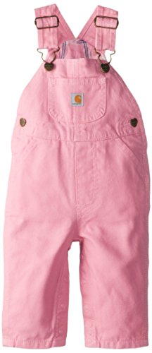 Carhartt Little Girls' Washed Microsanded Canvas Bib Overall Flannel Lined, Pink, 3T