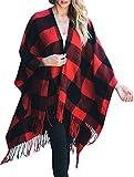黛西·德尔·索尔针织布法罗格子花呢裹特大号毛毯毛衣斗篷(红色)