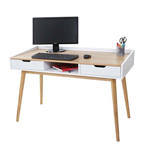 Mendler Bureau HWC-A70, Table d'ordinateur, 120x55cm MDF Aspect frêne