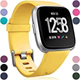 Wepro Replacement Bands Soft TPU Material,Compatible for Fitbit Versa 2 SmartWatch, Versa and Versa Lite SE Sports Watch Band Strap Wristband for Women Men Kids, Large, Mango Yellow