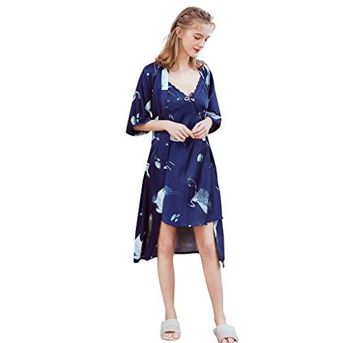 AmyGline❤Sexy Pyjama Femme en Satin Imprimée Sexy V Col Sling Chemise De Nuit Sexy en Soie Artificielle Cardigan Peignoir à Manches Courte Pyjama Femme éTé Pas Cher