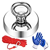 Magnet Fishing Kit with 500Lbs(278Kg) Pulling Force Fishing Magnets Double Sided Neodymium Strong Magnets with 20m (65 Foot) Durable Rope and Protective Gloves