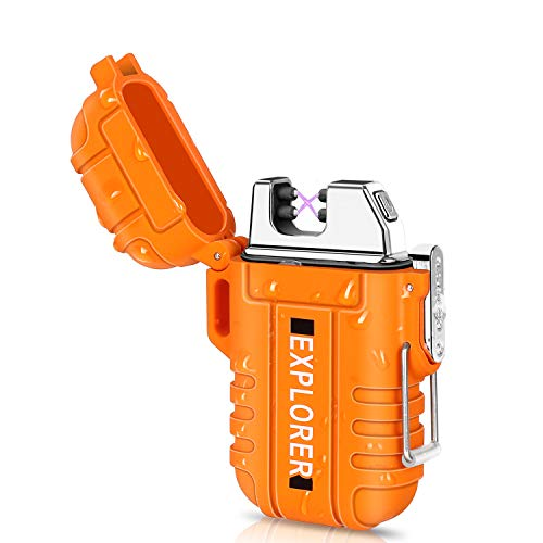 Green Vivid Waterproof Flameless Electric Lighter-Dual Arc Plasma Beam Lighter-USB Rechargeable-Windproof-No Butane-Ideal Lighter for Indoor and Outdoor Activities (Orange)