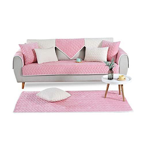 PETCUTE Sofaüberwurf couchbezug sofahusse Gesteppte Sofabezüge Sofa Schonbezug Couch Sofa überwurf ecksofa Rosa 90X160cm