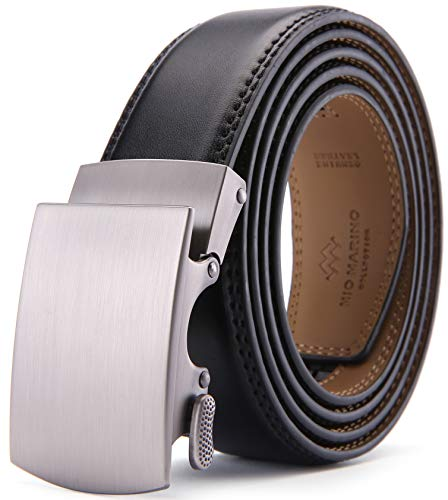"""Mio Marino Mens Premium Leather Ratchet Belt - 1.5"""" Wide - Loop - Deep Charcoal - Adjustable from 38"""" to 54"""" Waist"""