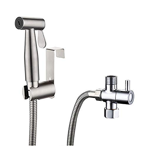 Hand-held bidet sprayer Fregadero de baño o inodoro con sujeción de ducha Pulsador de grifo Pulsera de mano Bidé Conjunto de pañales Spray toilet shower nozzle ( Color : Silver , Size : One size )