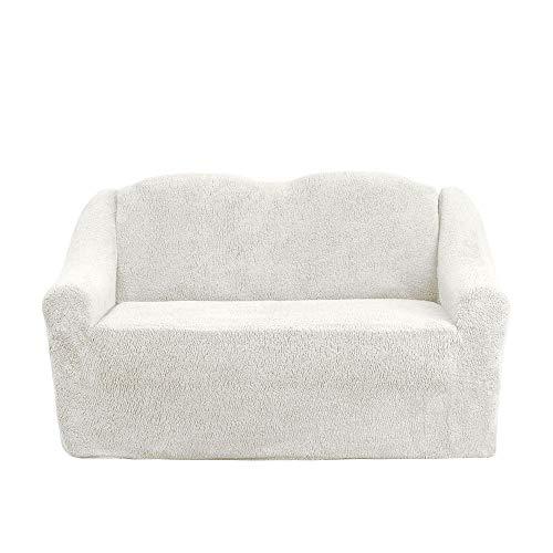 Mixibaby Sofabezug Sofahusse Sesselbezug Sitzbezug Sesselüberwurf Husse 2 er Sofa Wellsoft, Farbe:Cream