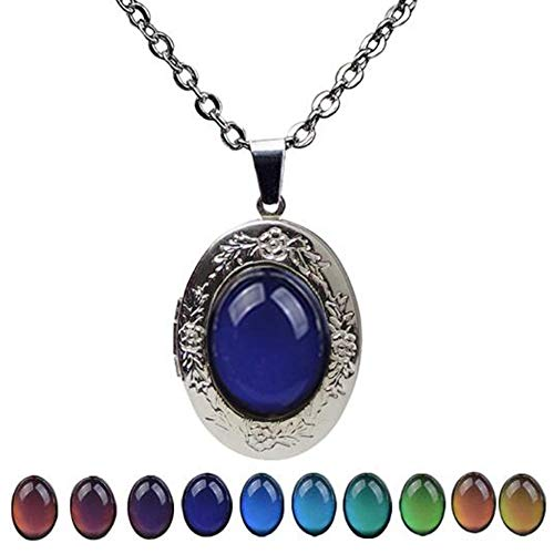 Jude Jewelers Rhodium Plated Retro Vintage Color Changing Mood Oval Shape Statement Pendant Necklace (Oval Shape)