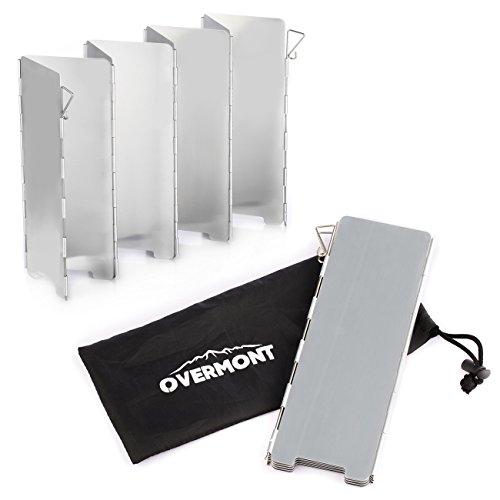 Overmont Faltbar Windschutz Windschutzscheibe Windscreen mit 8-Lamellen aus Aluminium Outdoor für Campingkocher, Gaskocher
