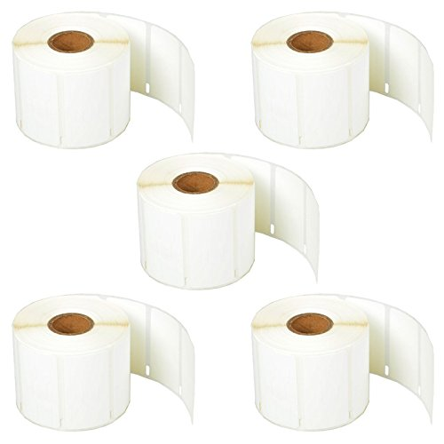"SuperInk [5 Roll, 1500 Labels/Roll] White Self-Adhesive Jewelry Price Tag 2-up Labels Barbell Style Compatible for Dymo 30299 3/8"" x 3/4"" use in LabelWriter 300 310 450 Duo 4XL Printer,BPA Free"
