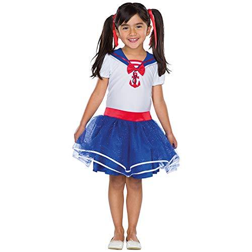 NET TOYS Tierno Disfraz de marinerita para nia - Azul-Blanco-Rojo 99 - 104 cm, 3 - 4 aos - Encantadora Vestimenta Infantil con Vestido de Marinero con Falda y Collar de Marinero