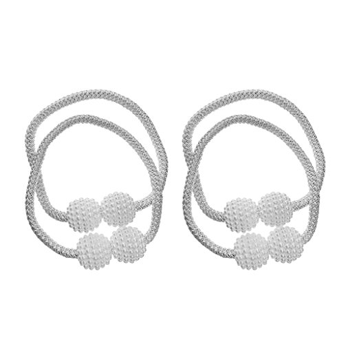 Baoblaze 4er-Set Magnet Gardinen Vorhänge Halter Gardinenhalter Deko - Weiß