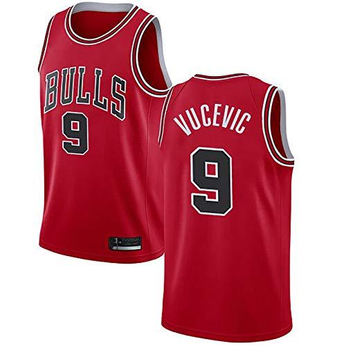 CBVB Ropa para Hombres Bulls # 9 Camiseta de Baloncesto Vucevic, Chaleco sin Mangas de Deportes de Malla, Jerseys Swingman, Regalo para Madre Red-XL