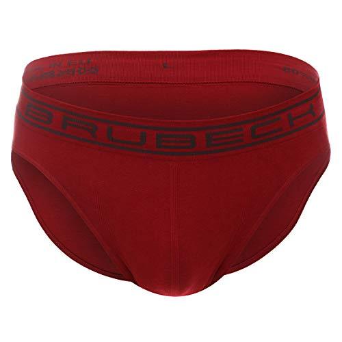 BRUBECK Herren Classic Slips   80% Baumwolle   Briefs   Smooth Skin   Funktionswäsche   Atmungsaktiv   Seamless   Sportslip   Schnell trocknend   BE00290A , L, D.Red