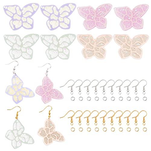 SUPERFINDINGS 8pcs 4 colores Colgante de Resina de Mariposa Colgante de Acetato de Celulosa Coloridos Accesorios de Manualidades de Joyería con Ganchos de Latón Y Anillos de Salto para Hacer Bricolaje