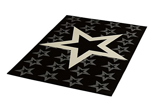 HANSE Home Design Velours Sterne 140x200 cm Teppich, Polypropylen, schwarz Creme, 140 x 200 x 0.9 cm