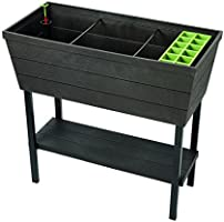 Keter Urban Bloomer 12.7 Gallon Raised Garden Bed with Self Watering Planter Box and Drainage Plug, Dark Grey