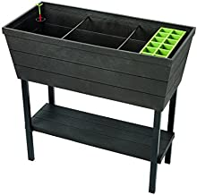 Keter Urban Bloomer 12.7 Gallon Raised Garden Bed with Self Watering Planter Box and Drainage Plug, Anthracite